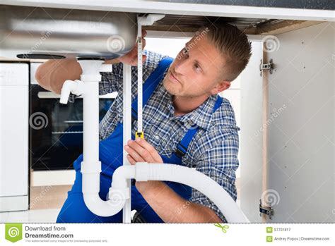 Overall Plumbing by Plumber Measuring Sink Pipe Stock Photo Image 57701817
