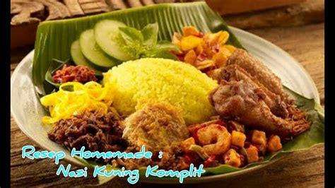 resep   membuat nasi kuning komplit gurih  enak