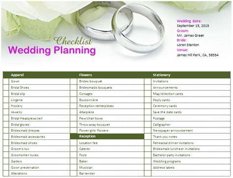 Ms Word Wedding Planning Checklist Office Templates Online Wedding Planner Template