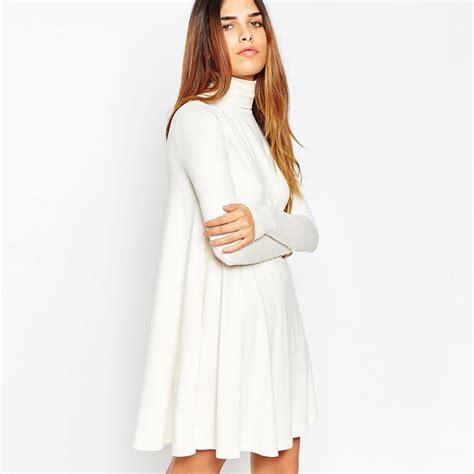 Turtleneck Sleeve Dress 2015 new white basic turtleneck dresses sleeve