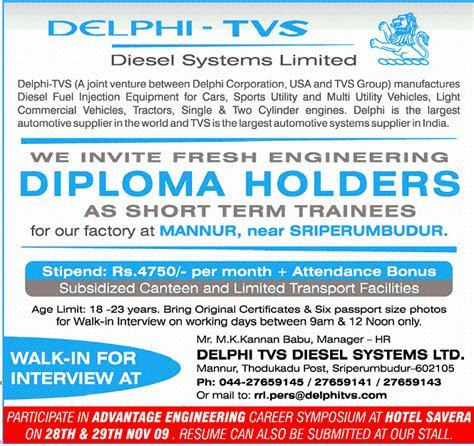 Mba For Diploma Holders In Chennai by Freshers Walk In Delphi Tvs Trainees On Working
