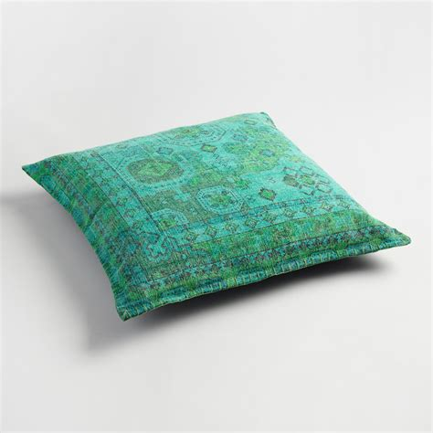 floor pillow teal dhurrie printed floor cushion world market