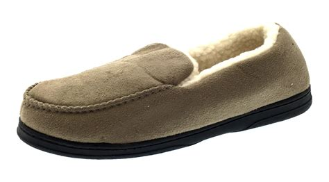 slippers with fur inside mens moccasins faux suede slippers warm winter faux fur