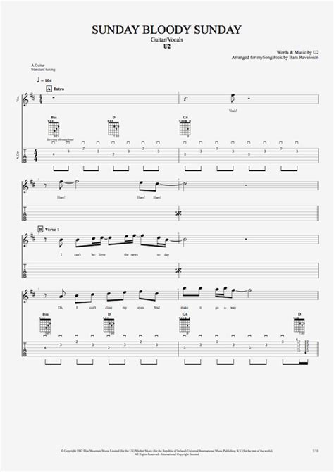 my bloody tab sunday bloody sunday by u2 guitar vocals guitar pro tab