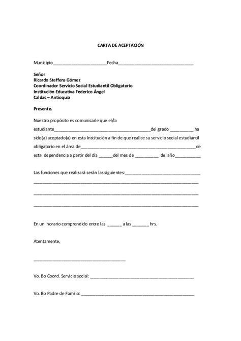 formato de carta de aceptacion de servicio comunitario proyecto de servicio social