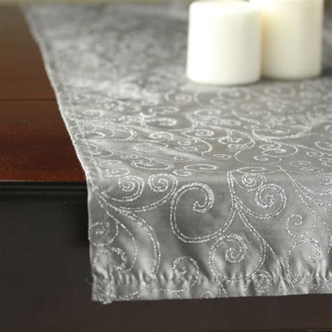 silver glitter table runner silver with glitter swirls satin table runner wedding ebay