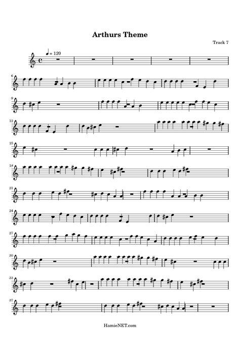 theme song arthur arthur theme song sheet music pictures