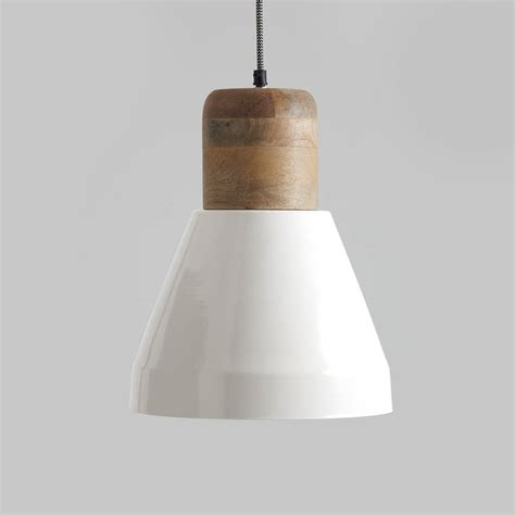 Izzy White And Natural Wood Pendant Light By Horsfall Pendant Light White