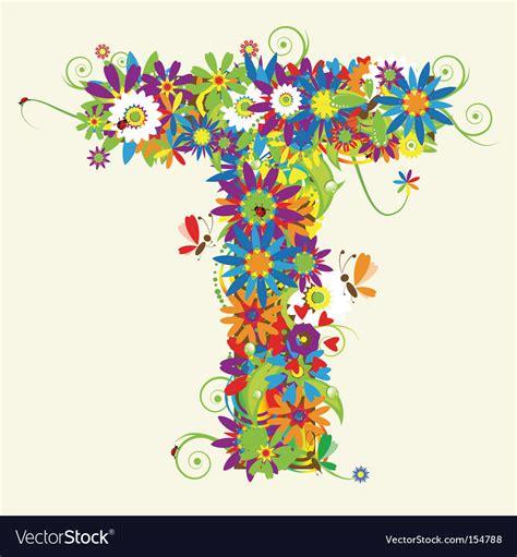 Floral J floral letter j vector j t