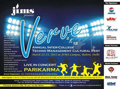Companies That Sponsor Mba In India by Quot Verve 2k12 Quot Jims Annual Inter College Techno Management
