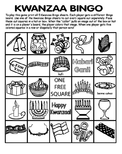 kwanzaa bingo board no 1 crayola co uk