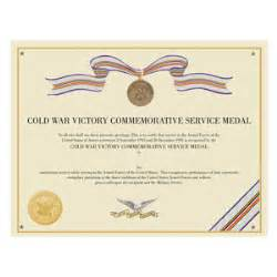 Cold war commemorative certificate medals of america