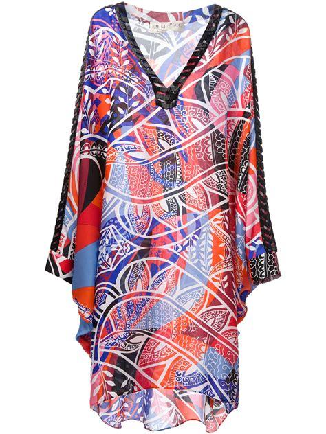Kaftan Silk Motif Cc 1 emilio pucci pattern print kaftan in multicolor multicolour lyst