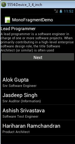 xamarin tabhost tutorial monoandroid using fragments in mobile app codeproject