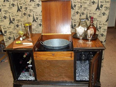 check it out antique record player repurposed bar drink