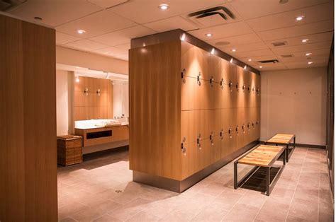 locker room design chopra centre in toronto by prototype design lab custom quarter cut oak locker room