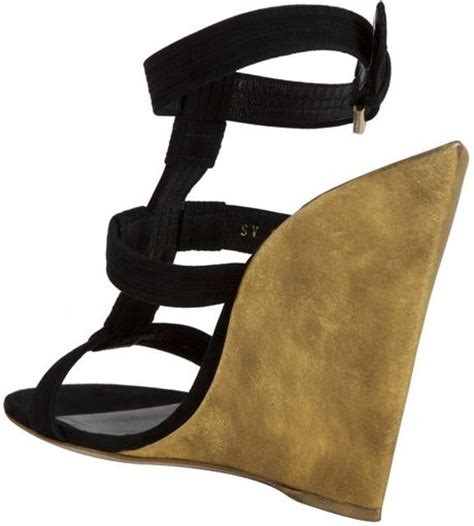laurent black and gold pointed heel wedge sandals in