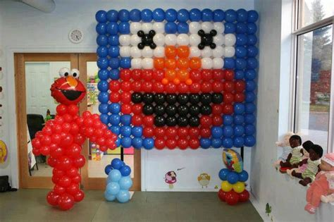 Elmo s party balloons amp party pinterest balloon wall elmo and elmo party