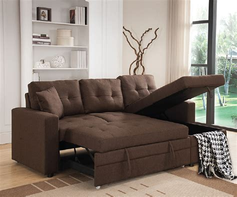 Pull Out Sofa Sectional Brown Linen Like Fabric Pull Out Sofa Bed Sectional