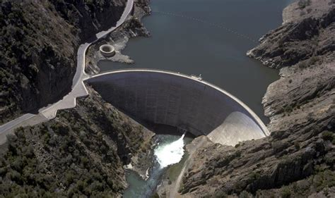 lake berryessa drain aerial view of monticello dam in napa county california