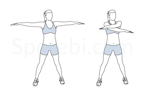 arm crossover swings arm swings illustrated exercise guide
