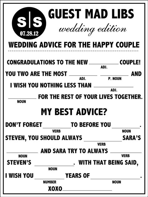 mad libs for wedding guests bridal guide wedding mad libs