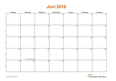 Juni Kalender 2016 Juni 2016 Kalender Mit Feiertagen