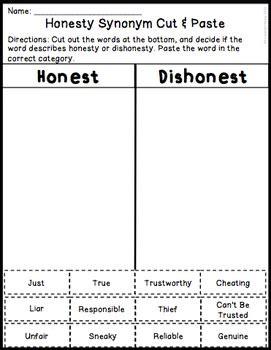 Honesty Worksheets by Honesty Activities Worksheets Activities
