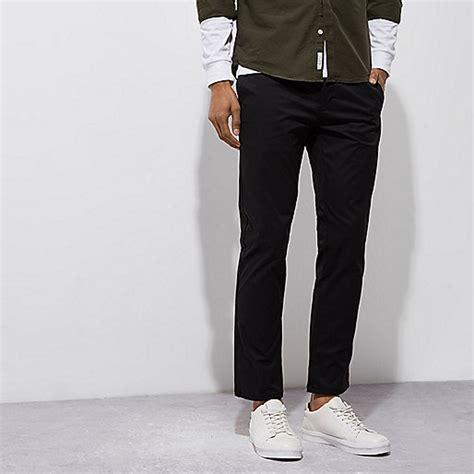 Chino Black black stretch slim chino trousers chinos trousers