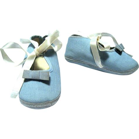 light blue slippers 1950 s mrs day s ideal baby or doll shoes light blue