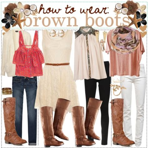 how to wear brown boots polyvore