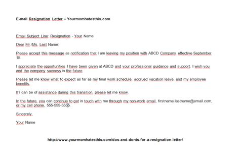 Resignation Letter In Email Attachment resignation letters pdf doc