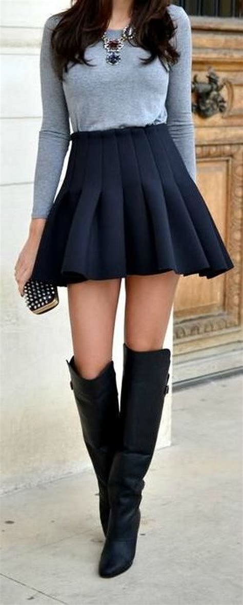 8 pleated skirt how to wear the knee boots image