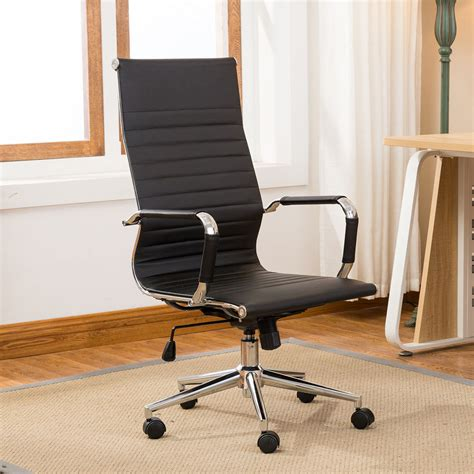 Modern High Back Black Ribbed Upholstered Pu Leather Office Chair For High Desk