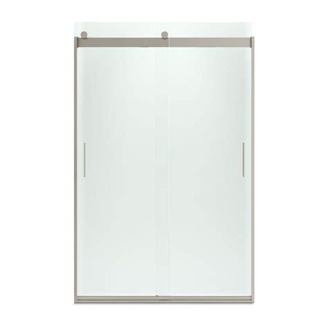 48 Frameless Sliding Shower Door Kohler Levity 48 In X 74 In Semi Frameless Sliding Shower Door In Nickel With Handle K 706008