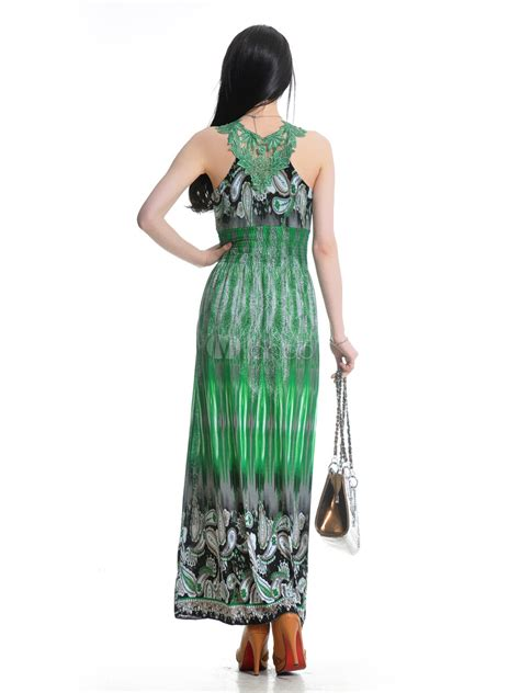 25081 Green Leisure Style Dress leisure green floral print sleeveless spandex maxi dress