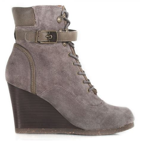 scholl grey lidean s wedge ankle boot