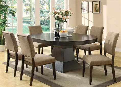 cappuccino dining room furniture collection myrtle cappuccino round extendable dining room set from