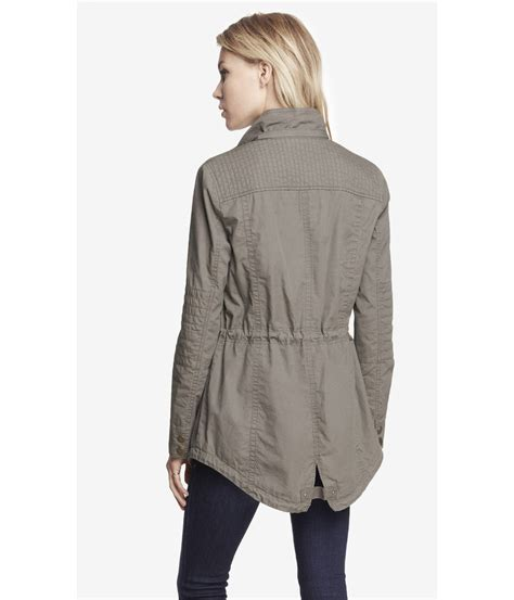 Hooded Cotton Jacket lyst express cotton hooded anorak jacket in gray
