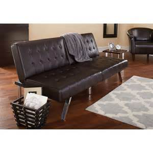 leather futons mainstays faux leather tufted convertible futon brown
