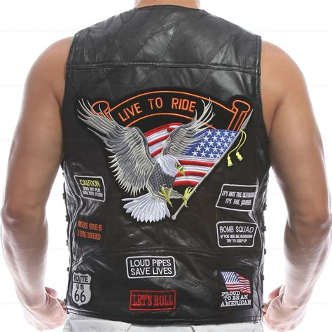 Norken Vest Bikers Rompi Wind Vest vest leather embroidery waistcoat halley motorcycle hip hop sheep skin wind