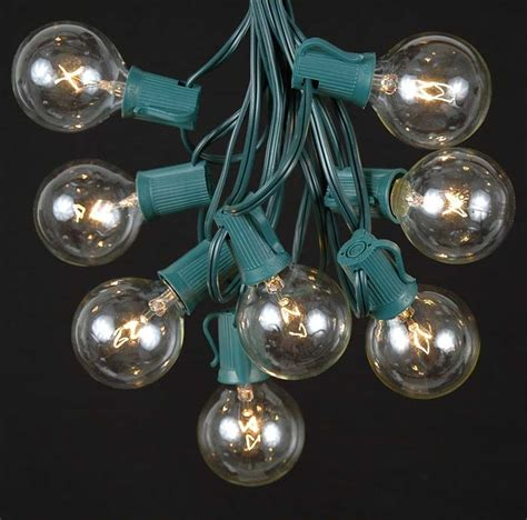 Novelty Patio Lights Clear Satin G50 Globe Outdoor String Light Set On Green Wire Novelty Lights Inc
