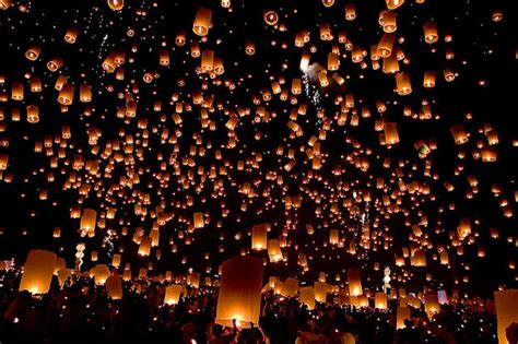 loy lake lights beautiful khom loy lanterns lights image