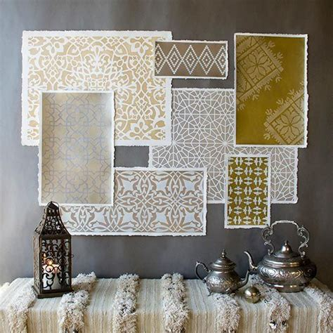 moroccan pattern wall art how to stencil moroccan stencils in metallics for amazing