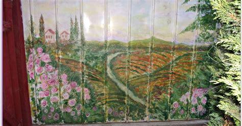 Ugly Backyard Makeovers Vineyard Mural Painted On Backyard Shed Hometalk