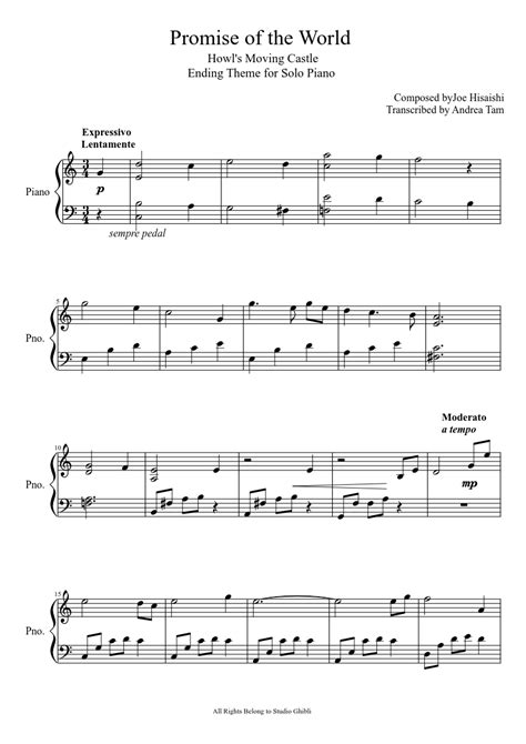 Ending Theme of Howl's Moving Castle for Piano | Sheet