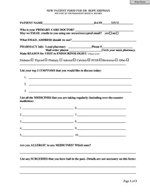 New Patient Letter Family Practice New Patient History Form Templates Fillable Printable Sles For Pdf Word Pdffiller