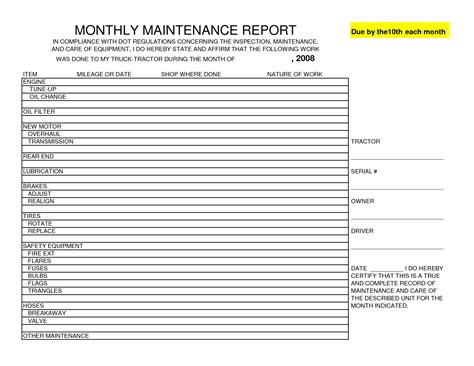 monthly maintenance report template sle helloalive