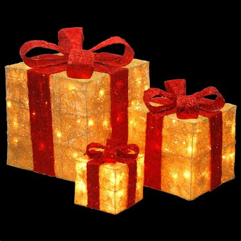 national tree company pre lit gold sisal gift box