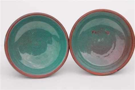 blue hill maine rackliffe rowantree pottery pair  candle sticks blue ombre color glaze